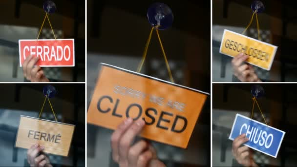 Open and closed signs (5 languages)