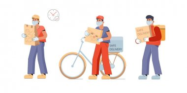 Safe food delivery. A young courier brings a fast food order or store purchases to a masked and gloved customer during the coronavirus pandemic. Vector flat illustration isolated on white background icon