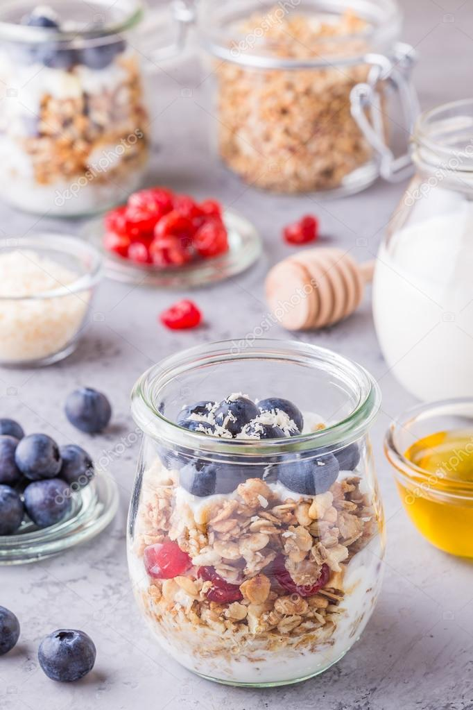 Gesundes Frühstück Gläsern Von Haferflocken Mit Obst Joghurt
