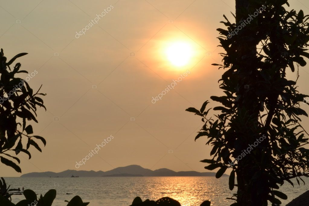Sunset on the beach ocean coast