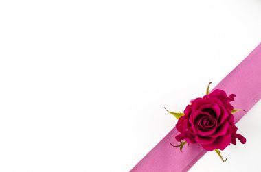 Empty postcard background with rose flower and pink ribbon