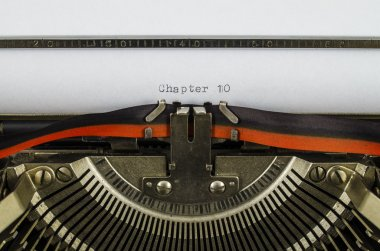Chapter 10 word printed on an old typewriter