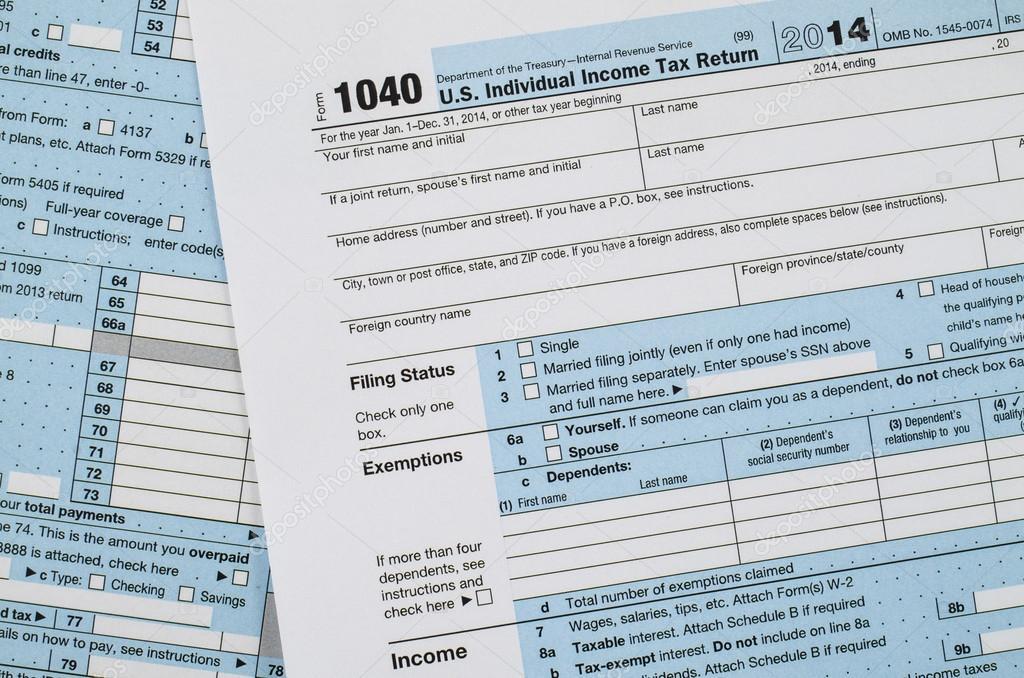 Us Individual Income Tax Return Form 1040 Stock Photo