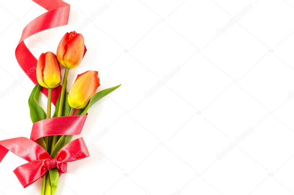 Empty postcard background with colorful flowers and red ribbon