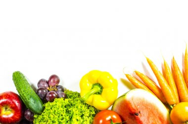Frame of fresh fruits and vegetables on white background