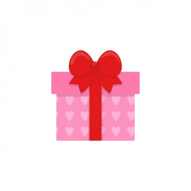 Icon of a pink gift box with hearts and a red bow. Gift on a white background. Winter holiday. Vector illustration icon