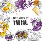 Doodle snídani menu plakát