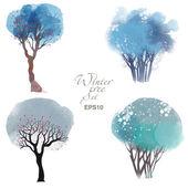 Akvarel sada stromů