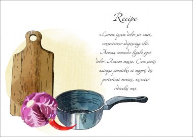 Watercolor kitchen background