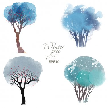 Watercolor set of trees