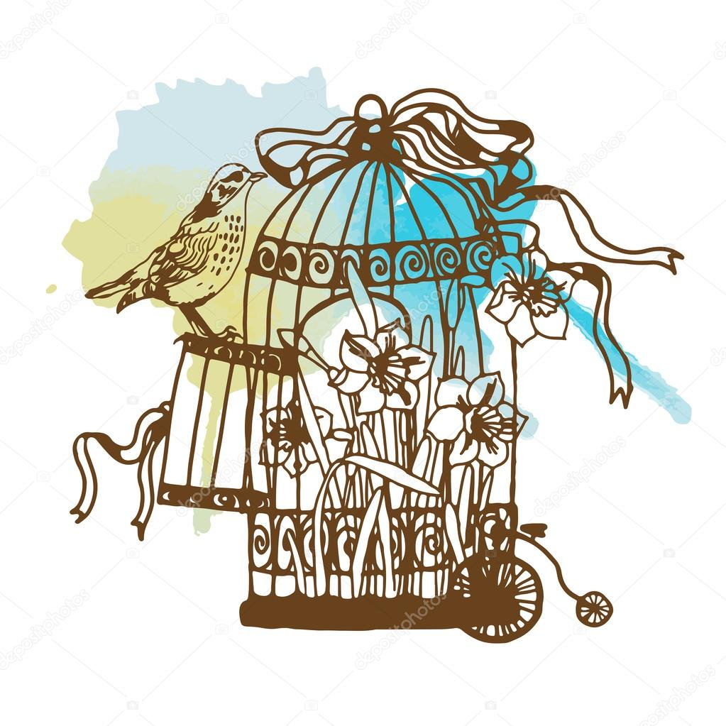 vintage birdcage and bird � stock vector 169 tatianadavidova