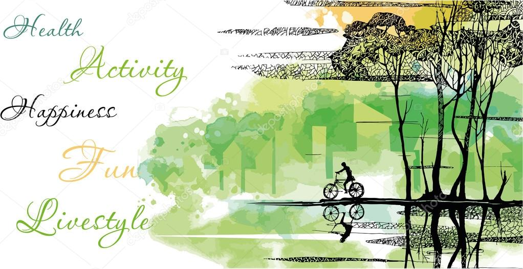 Landscape background with bike.