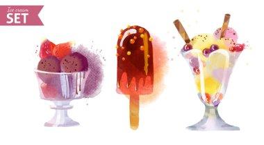 Watercolor summer Ice creams