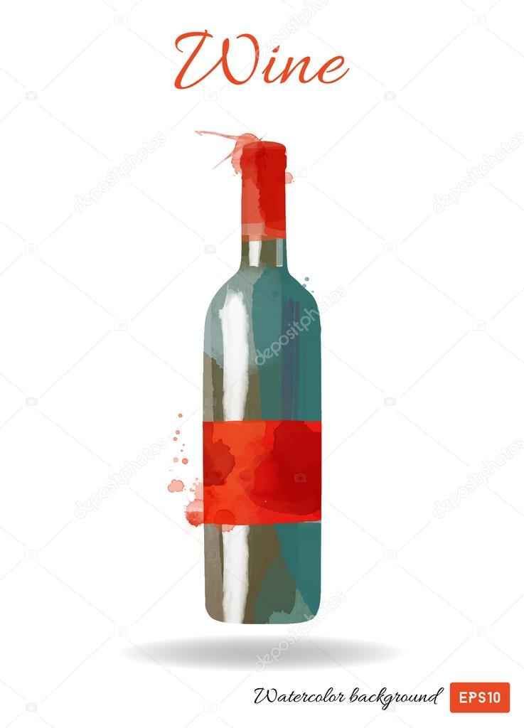 Watercolor Wine Bottle Stock Vector C Tatianadavidova 75121569