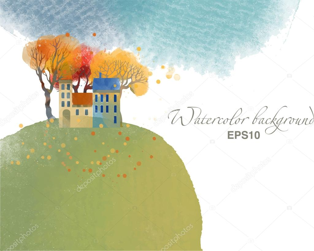 watercolor autumn town background