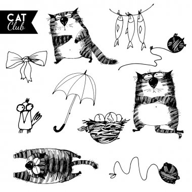 sketches set of cats characters