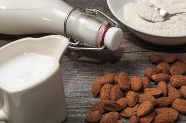 Ingredients to prepare almond milk