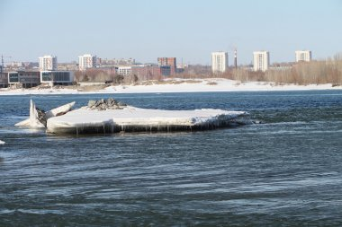 The thawing ice on the Ob River in the spring