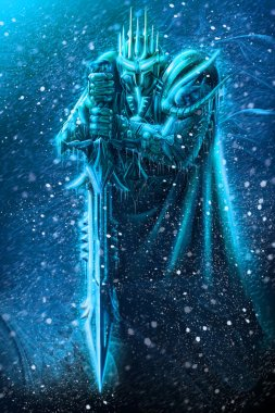 Illustration of ice warrior with a weapon