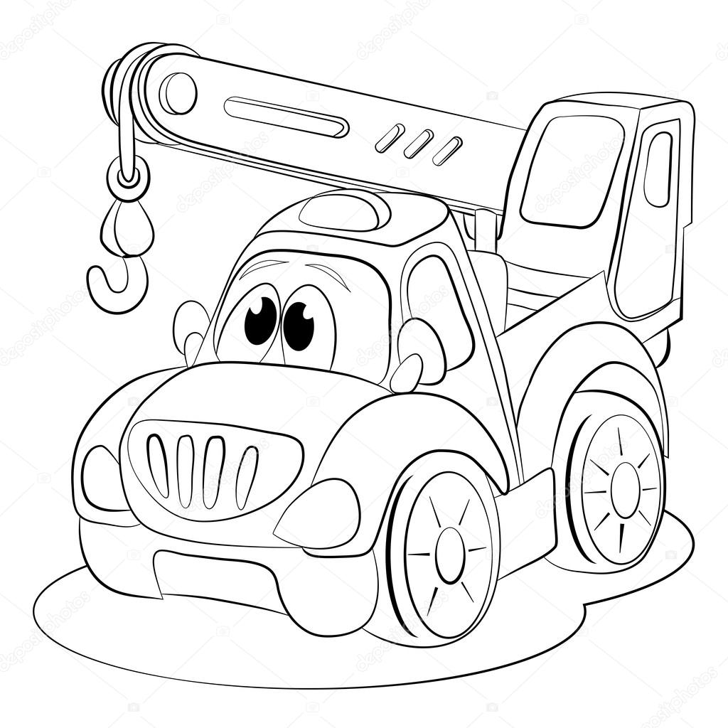 Grúa coches divertidos dibujos animados — Vector de stock ...