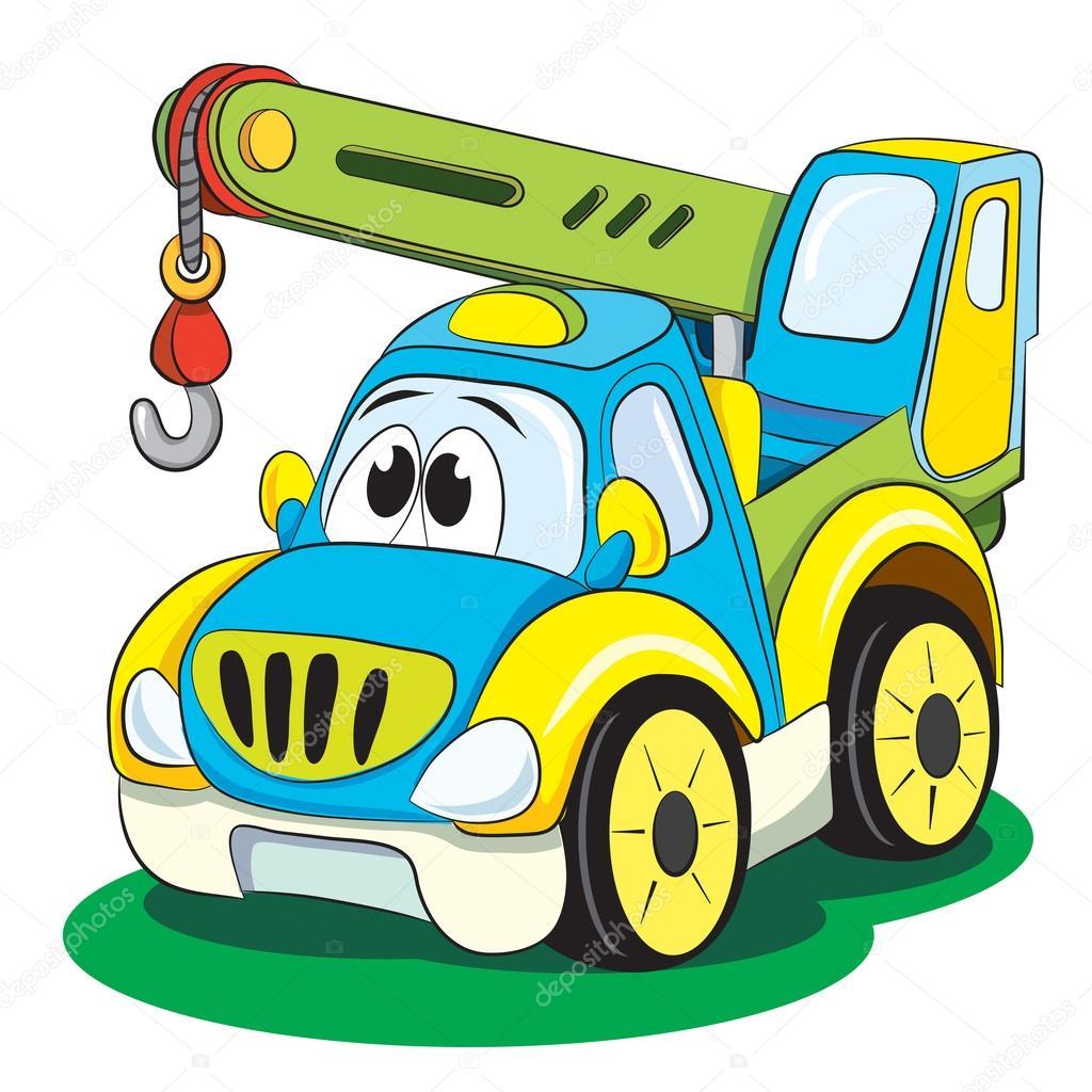 Grúa coches divertidos dibujos animados — Archivo Imágenes ...