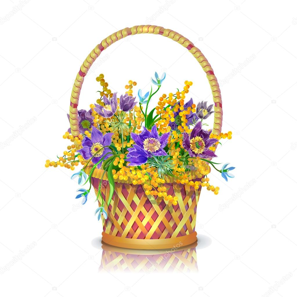 Spring Flowers Basket Stock Vector Vitasunny 64510515