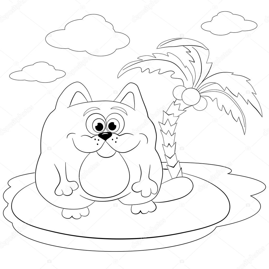 Dibujos animados gato en la isla — Vector de stock © vitasunny #64582291