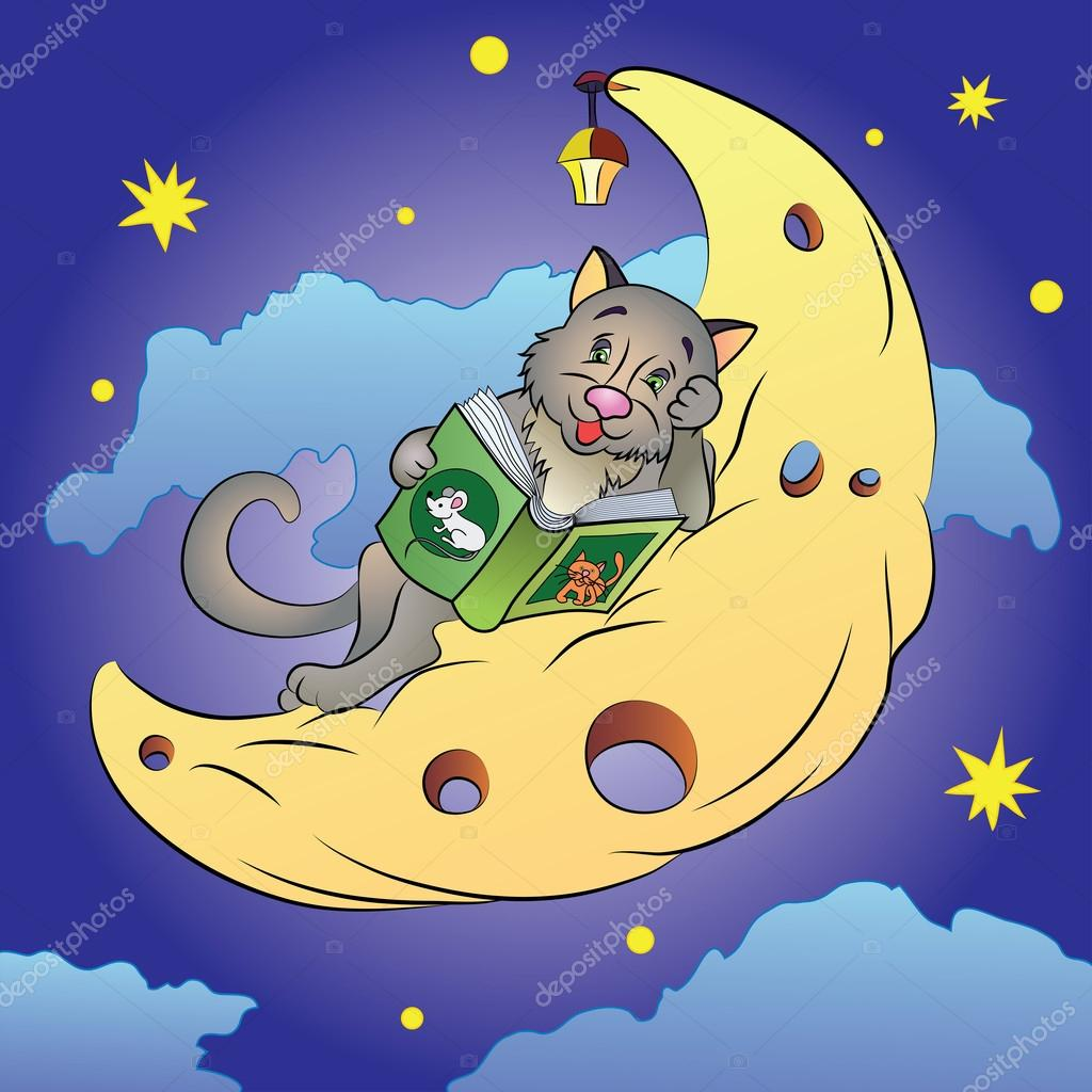 Cat sleeping on moon