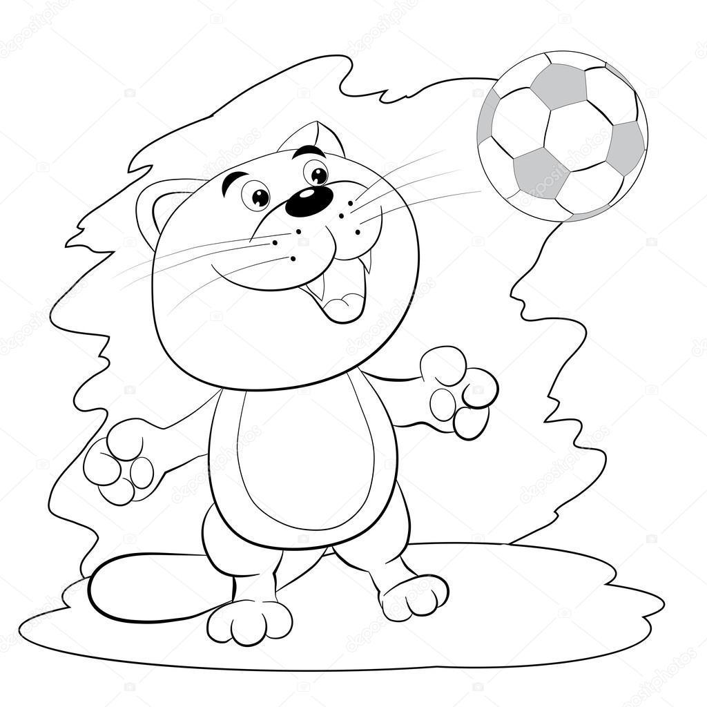 Dibujos Futbol Para Colorear Dibujos Animados Gato Jugando Al