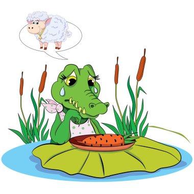 Sad eating crocodile