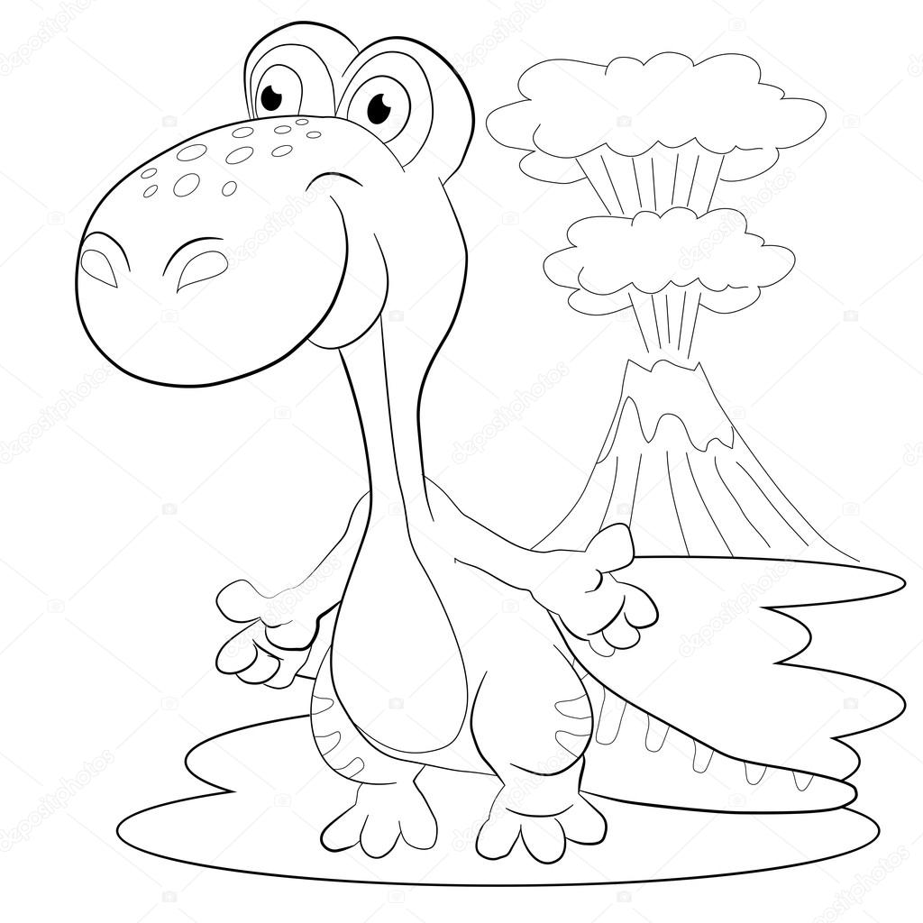 Volcán y el dinosaurio feliz — Vector de stock © vitasunny #64602049
