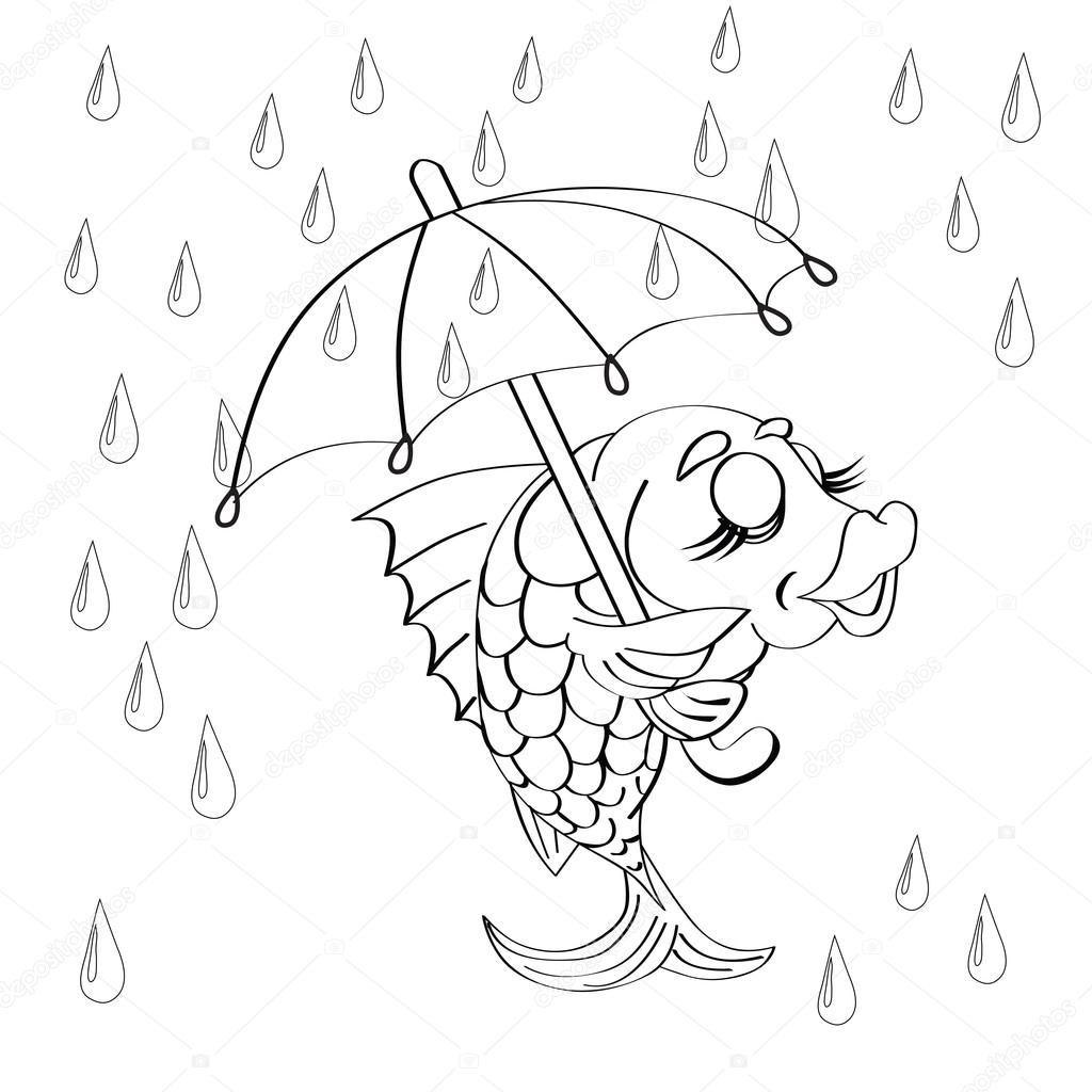 dibujos animados de pescado con paraguas — Vector de stock ...
