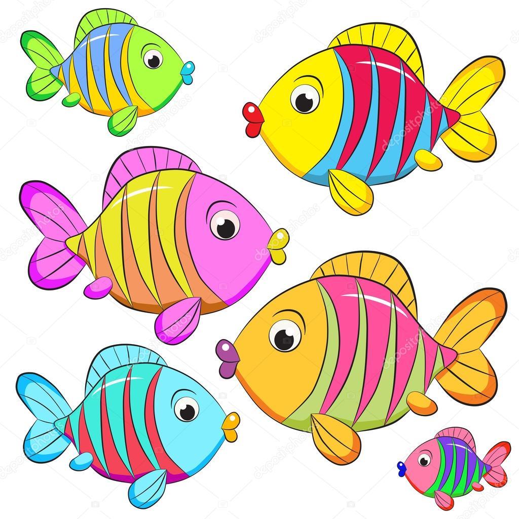Poissons de couleur dessin anim image vectorielle - Poisson dessin couleur ...
