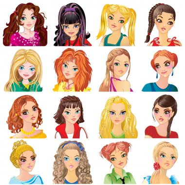 fashionable girls  with  hairstyles