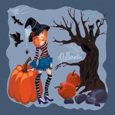 Halloween girl witch