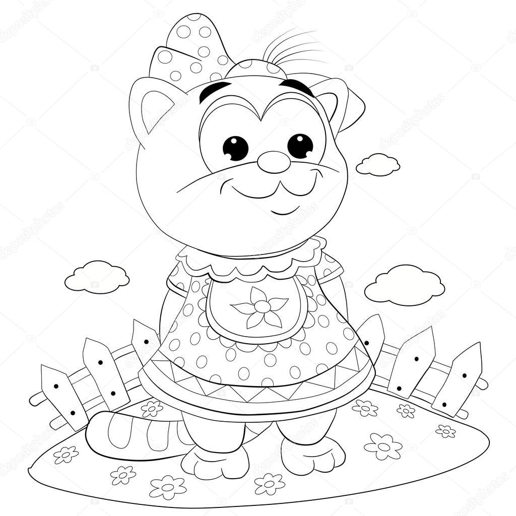 Cartoon cat girl in dress — Stock Vector © vitasunny #64611811