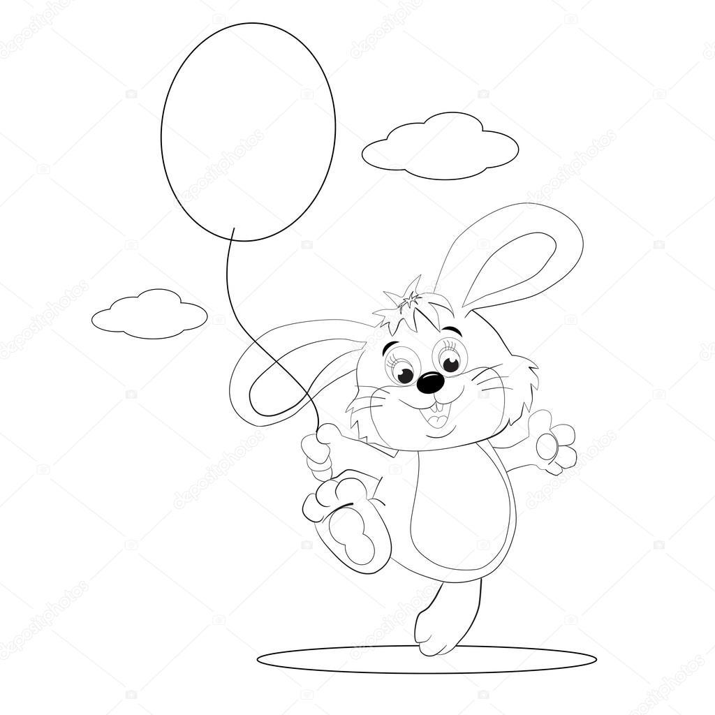 Conejo de dibujos animados con globo — Archivo Imágenes Vectoriales ...
