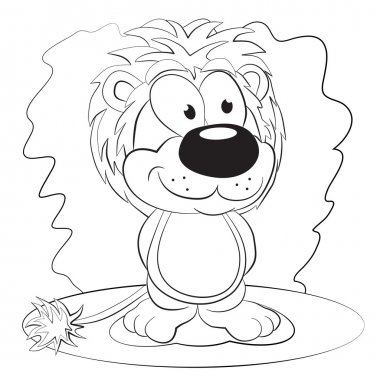 Cartoon funny lion.