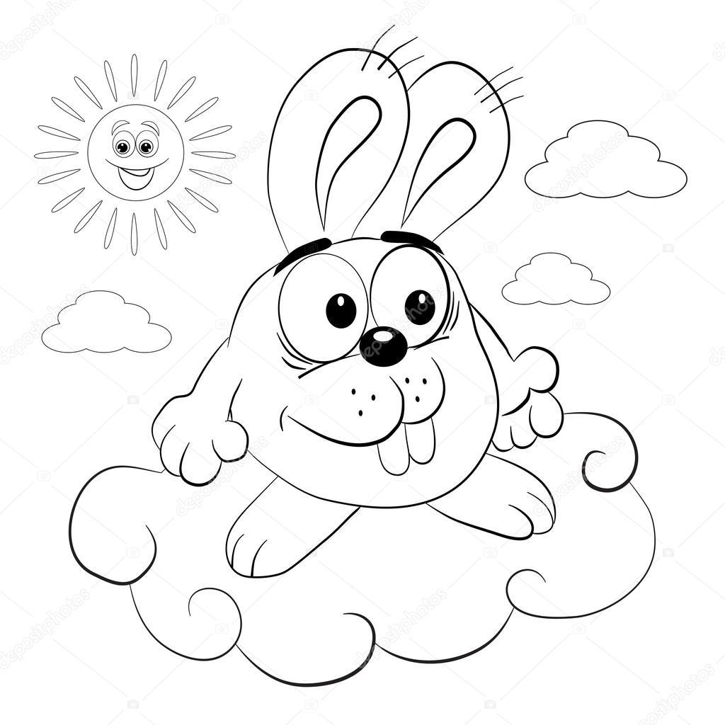 Animado Dia Soleado Para Colorear Conejo De Dibujos Animados En
