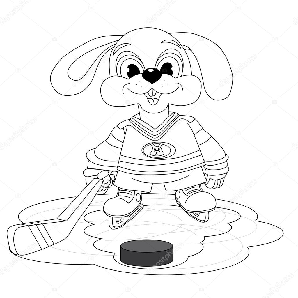 Jugador de hockey de conejo — Archivo Imágenes Vectoriales ...