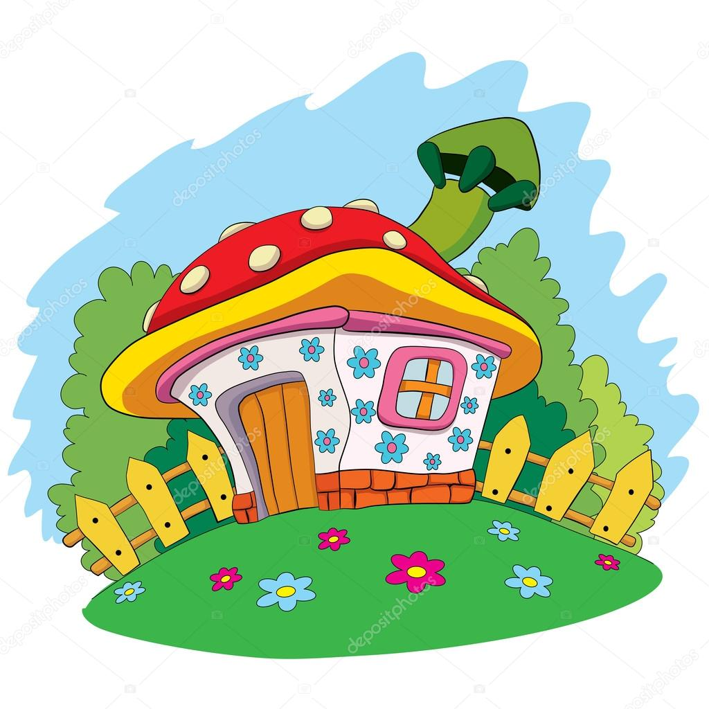 Cartoon house  mushroom