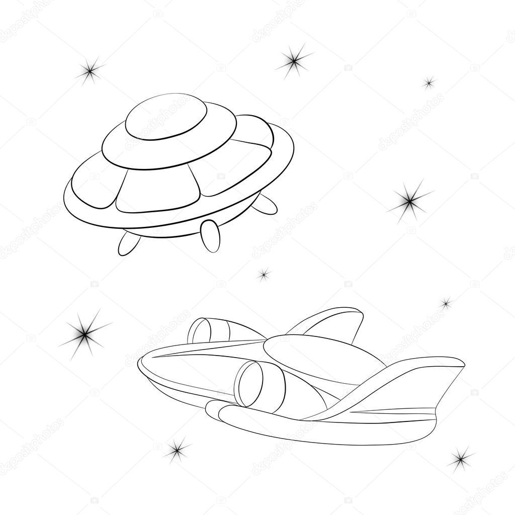Yıldızlı Cosmos Karşı Uzay Aracı Stok Vektör Vitasunny 64669927