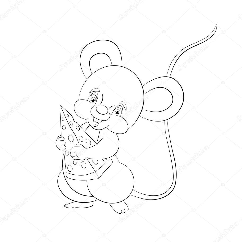 ratón de dibujos animados con queso — Archivo Imágenes Vectoriales ...