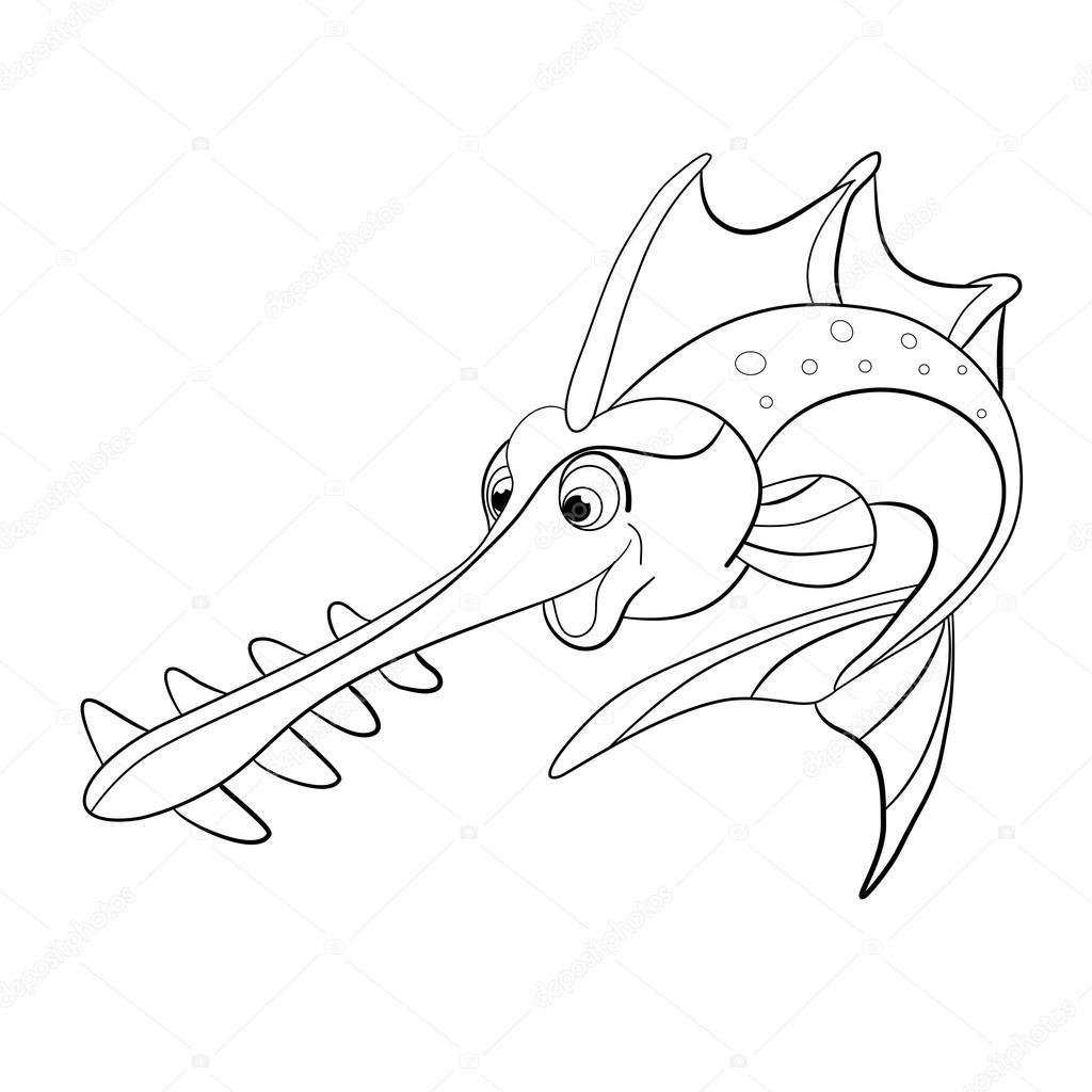 peixe serra dos desenhos animados vetor de stock vitasunny 64673041