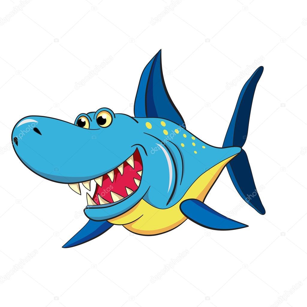 Colored cartoon   shark