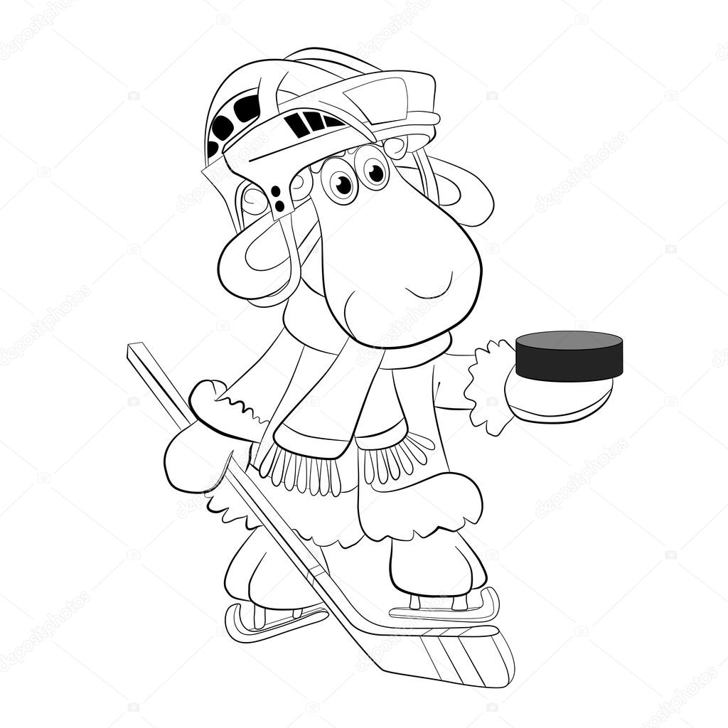 Ovejas de dibujos animados hockey — Vector de stock © vitasunny ...