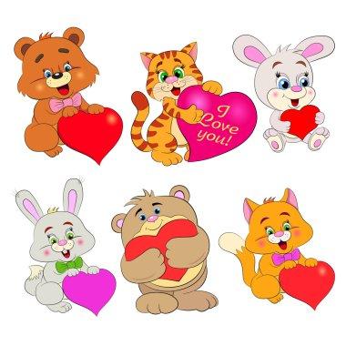 Cartoon  animals with hearts