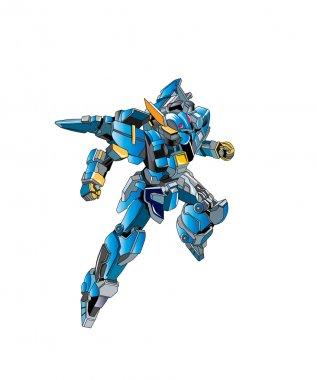 Flying metallically blue robot