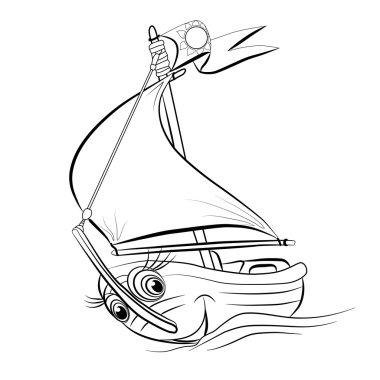 Cartoon   sailing yacht