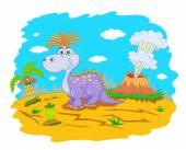Funny dinosaur in prehistoric landscape